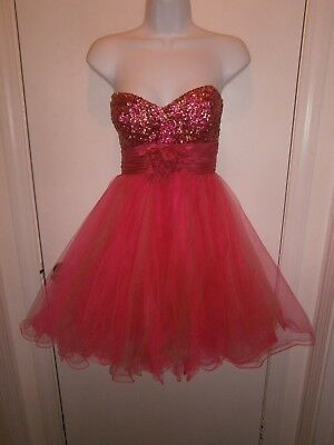 Halloween Costume Let's Fashion Hot Pink Orange Prom Dress Party Size Small