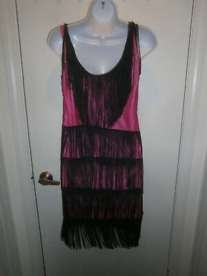 Halloween Costume Adult Fringed Flapper Dress Hot Pink Black Size Small