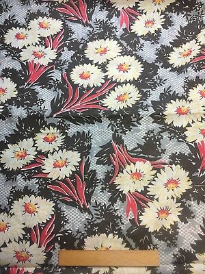 Vintage Cotton Fabric 30s40s PRETTY  Daisies Floral 35w 1yd