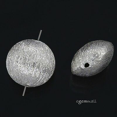 2 Sterling Silver Satin Puffy Round Spacer Beads 10mm #97738
