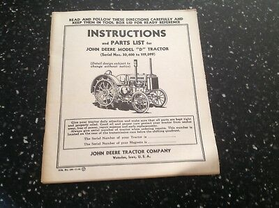 John Deere Model D Tractor Parts List and Instructions Vintage 1944