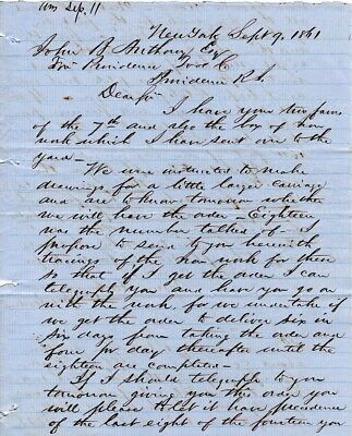 1861, Greenpoint, New York,USS Monitor shipyard, letter re: gun carriages