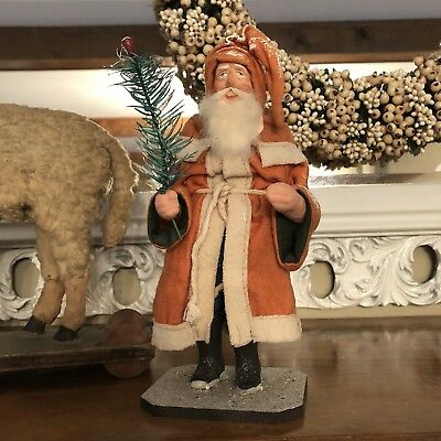 Signed Artist Reproduction of German Antique Belsnickel Santa Claus Humped Back