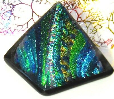 Dichroic Fused Art Glass PYRAMID Paperweight Free Standing Signed Free Gift Bag