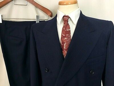 Vtg 40s Double-Breasted Wool 2pc Suit 38 S jacket Drop Loop pants Deco WWII era