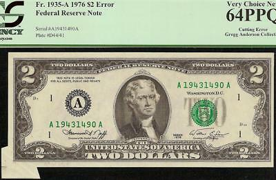 1976 $2 Two Dollar Bill Small Butterfly Cutting Error Note Paper Money Pcgs 64