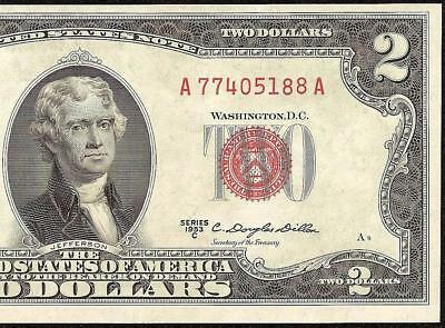 UNC 1953C $2 TWO DOLLAR BILL LEGAL TENDER UNITED STATES RED SEAL NOTE Fr 1512