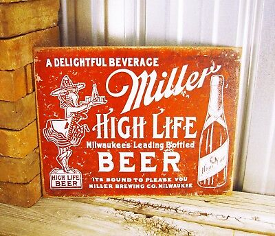 Miller High Life Beer Brewing Company Red Metal Tin Sign Vintage Bar Man Cave