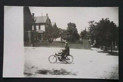RPPC Indian Motorcycle With Rider Logo Clear Under Magnification CYKO 1904-1920s