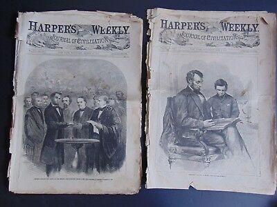 2 Issues of HARPER'S WEEKLY - ABRAHAM LINCOLN - MARCH 18, 1865 & MAY 6, 1865