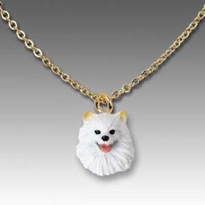 Dog on Chain AMERICAN ESKIMO Resin Dog Head Necklace Jewelry Pendant