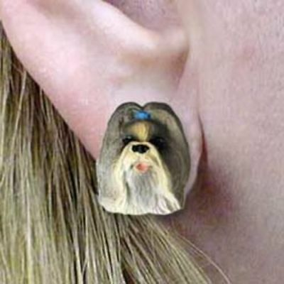 Post Style SHIH TZU MIXED COLORS Resin Dog Head Post Earrings Jewelry CLEARANCE