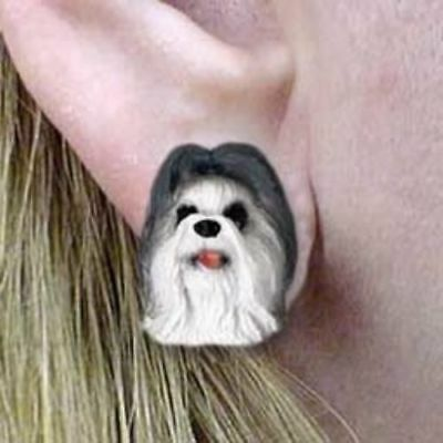 Post Style SHIH TZU GRAY Resin Dog Head Post Earrings Jewelry CLEARANCE
