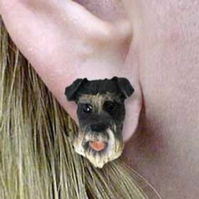 Post Style SCHNAUZER GRAY Natural Ear Resin Dog Head Post Earrings CLEARANCE