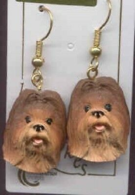 Dangle Style SHIH TZU RED BROWN Dog Head Resin Earrings Jewelry CLEARANCE