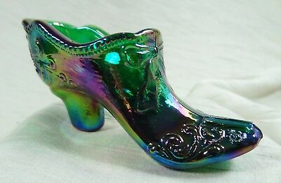 Bow and Scroll Lady's Glass Slipper Emerald Green Carnival Shoe Mosser Glass