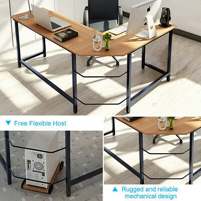 Wood L-Shape Corner Computer Desk PC Table PC Workstation Home Office Student