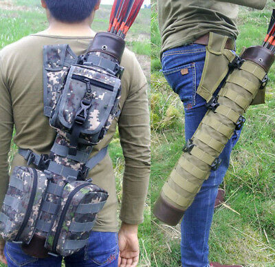 Whole Leather Arrow Quiver W/ Molle System Bags Sport Tactical For Tactical Bow