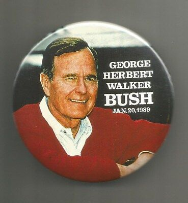 "1989 George Herbert Walker Bush 41 President Republican Inaugural 3"" Button Pin"