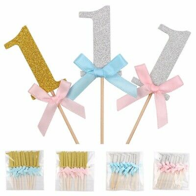 10Pcs First Birthday Cake Toppers Boy Girl 1st Year Party Decor Glitter Paper