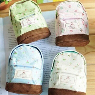 Small Floral Mini Backpack Coin Bag Canvas Wallet Hand Pouch Purse Key Holder