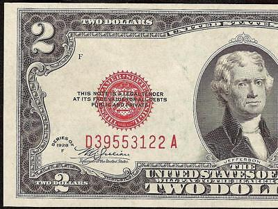UNC 1928 F $2 TWO DOLLAR BILL UNITED STATES LEGAL TENDER RED SEAL NOTE Fr 1507