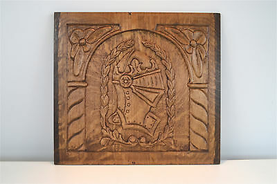 Lovely antique oak carved wall panel of a knights head English circa.1930