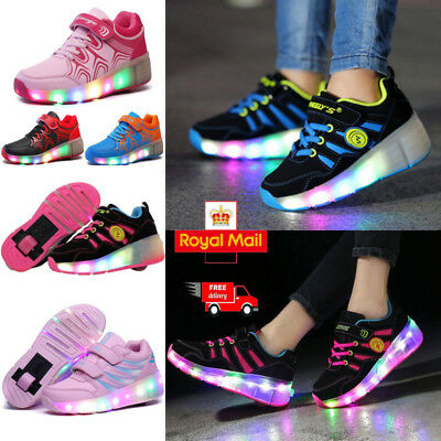 LED Heelys Wheels Boys Girls Shoes Skates Kids Light Up Roller Skate Trainers UK