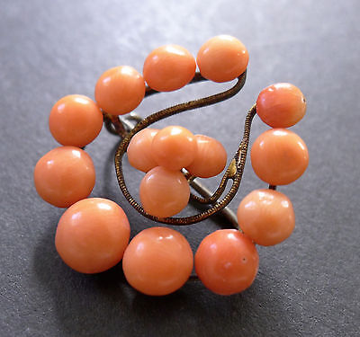 Vintage Victorian Salmon Red Coral Rondelle Brooch Pin Antique Horseshoe Old