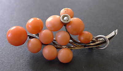 Vintage Salmon Red Coral Seed Pearl Brooch Pin Victorian Antique Old
