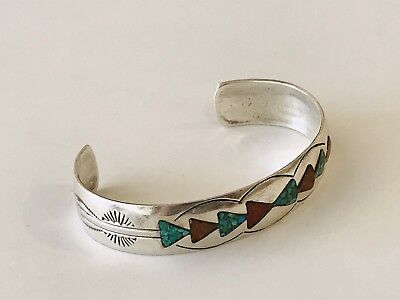 Fine Sterling Silver Coral And Turquoise Navajo Native American Bangle