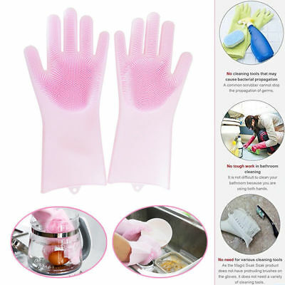2 in 1 Silicon Dish Scrubber Glove 100% Food Grade Cleaning Dishwashing 1 Paar
