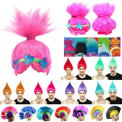 Kids / Adult Trolls Poppy Mohawk Cosplay Wigs Hair Hairpiece Fancy Dress Costume