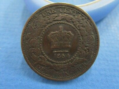 1864 New Brunswick/ CANADA One Cent PENNY Queen Victoria large  copper coin