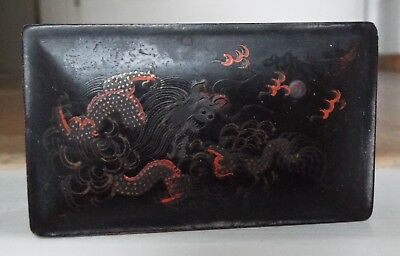 Antique Vintage Chinese Foochow Leng Hing Lacquer Box Dragon Design