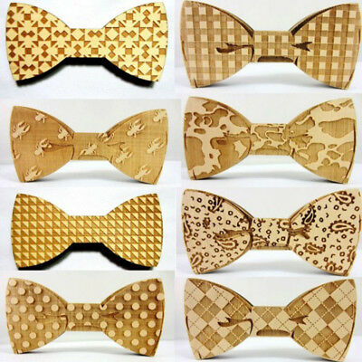 Mens Wooden Bow Tie Accessory Wedding Party Christmas Gifts Bamboo Wood Bowtie