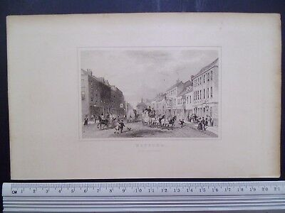19th Century Antique Print, Watford, Hertfordshire,depicting horse and carriages
