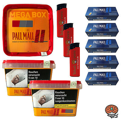 3 x Pall Mall Allround Mega Box Tabak à 185g, Authentic Blue Hülsen, Feuerzeuge
