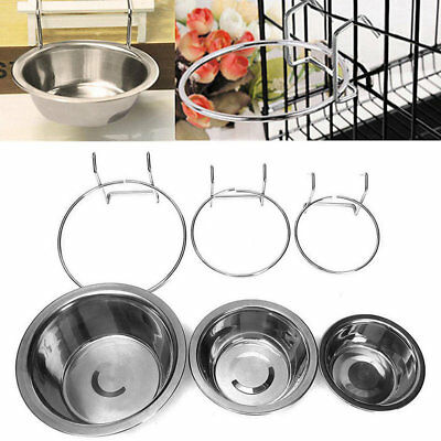 Stainless Steel Hanging Bowl Feeding Bowl Pet Bird Dog Food Water Cage Cup RY