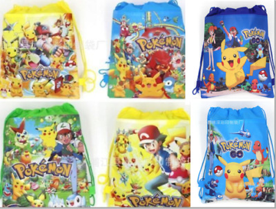 wholesale New POKEMON Pikachu Drawstring Backpack Child Sling Gym Bag