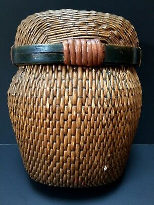 """Antique Asian Hand-Woven Basket w/ Lid ~ (12"""" h) ~ 19th Century, 1800's"""
