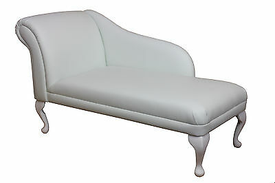 "52"" Large Chaise Longue Lounge Sofa Day Bed Seat Chair White Leather Queen Anne"