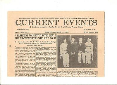 November 5-9, 1928 Current Events newspaper, presidential election
