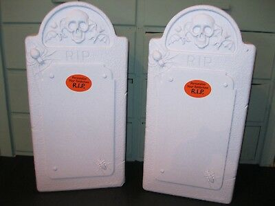 Blow Mold Halloween Gravestone Skull Bats Spiders Lot of 2 NON LIGHTED LAST TWO