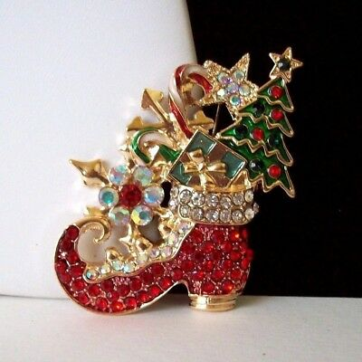 Stunning Gold Tone Enamel Crystal Elf-Shoe Pin/Brooch Filled w/Christmas Items