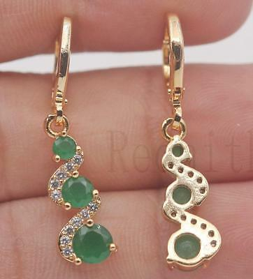 18K Gold Filled -  1.2'' Swirl Round Emerald Jade Topaz Party Dangle Earrings