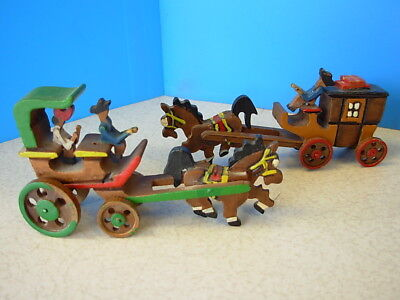 Vintage Set of Two Hand Carved Miniature Wood Horse and Stage Coach Japan