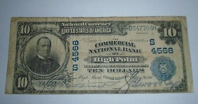 $10 1902 High Point North Carolina NC National Currency Bank Note Bill Ch. #4568