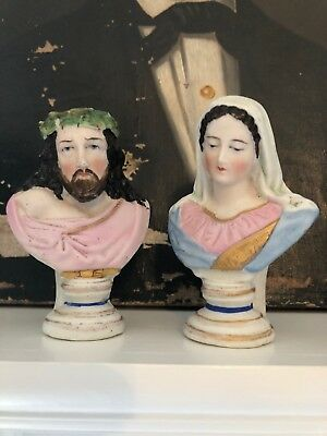 WONDERFUL ANTIQUE FRENCH Miniature Bust's Mary & Jesus Religious Pair
