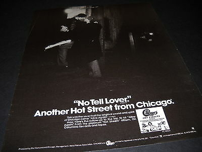 CHICAGO has a NO TELL LOVER Another Hot Street 1978 PROMO DISPLAY AD mint cond